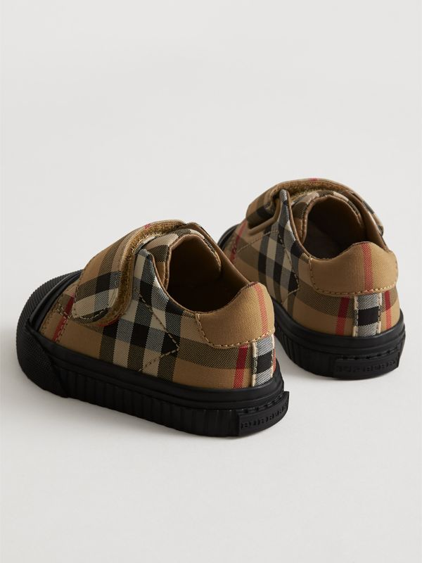 Vintage Check and Leather Sneakers in Antique Yellow/black - Children | Burberry Australia - cell image 2