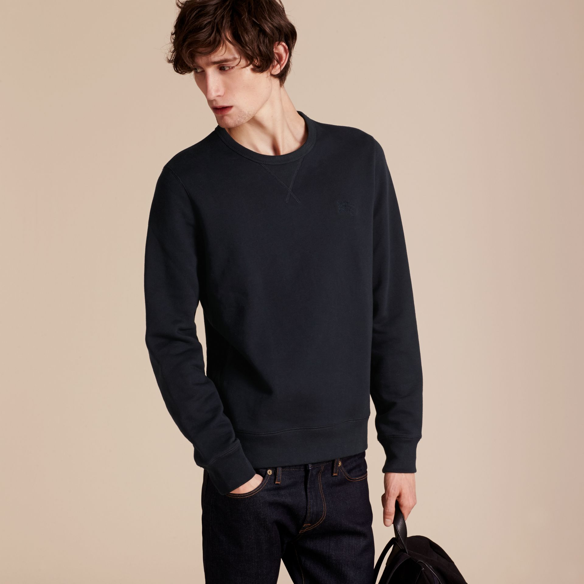 Navy Cotton Blend Jersey Sweatshirt Navy - gallery image 6