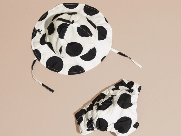 Black Polka Dot Print Swimwear and Hat Set - cell image 1