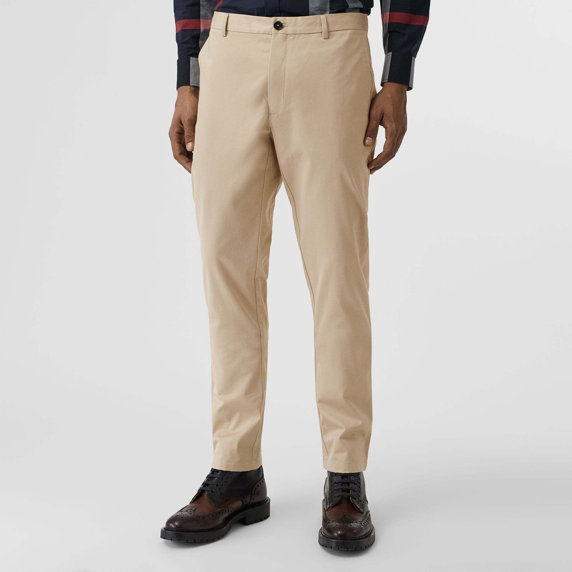 Slim Fit Cotton Chinos in Stone - Men | Burberry - gallery image 4
