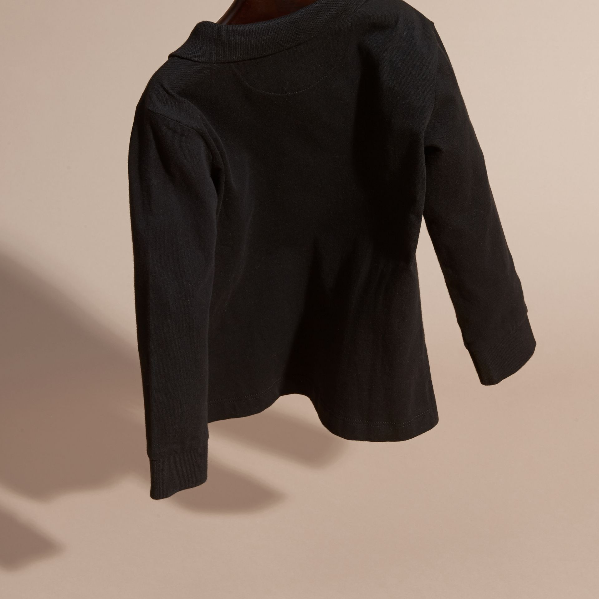 Long-sleeve Cotton Jersey Polo Shirt in Black - Boy | Burberry - gallery image 4