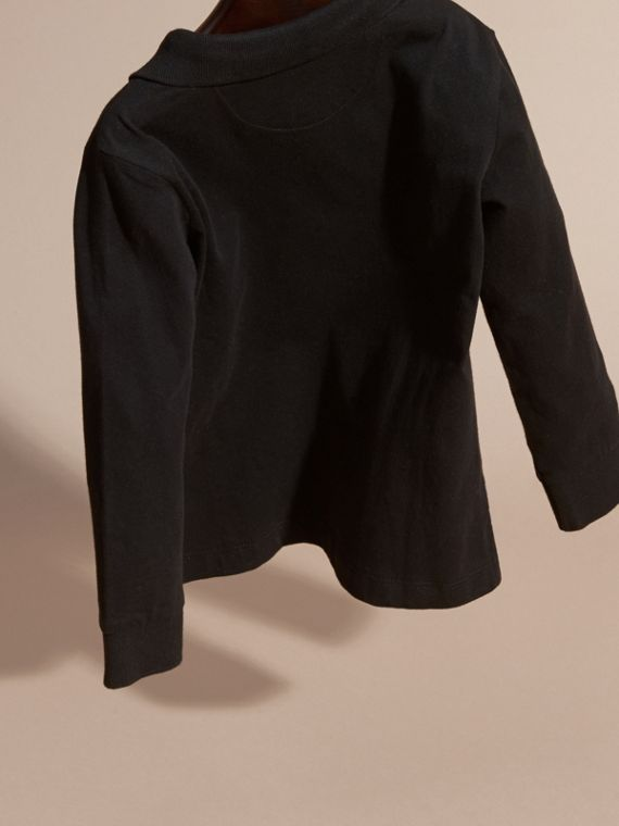 Black Long-sleeved Cotton Polo Shirt Black - cell image 3