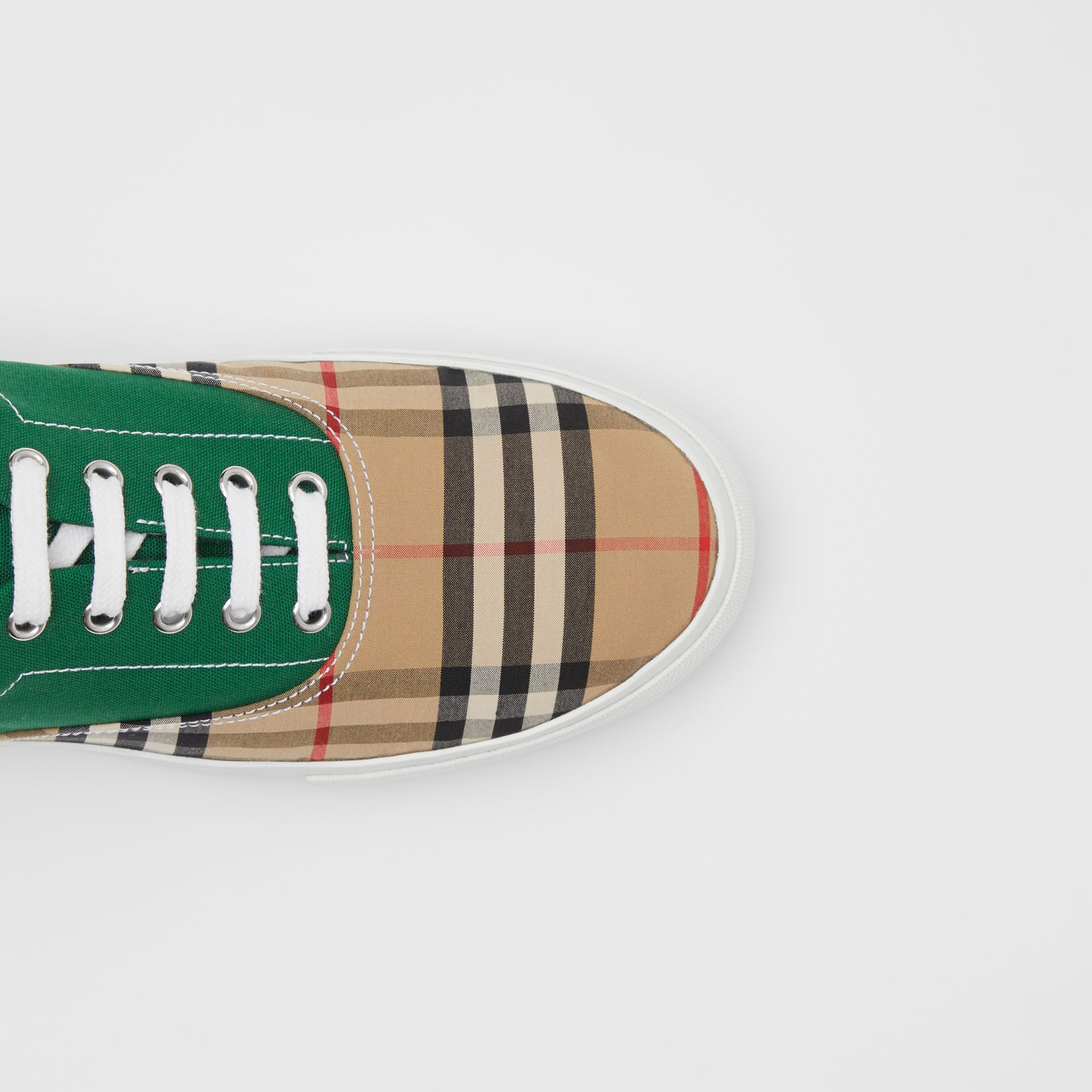 Vintage Check, Cotton Canvas and Suede Sneakers in Archive Beige/green - Men | Burberry - gallery image 1