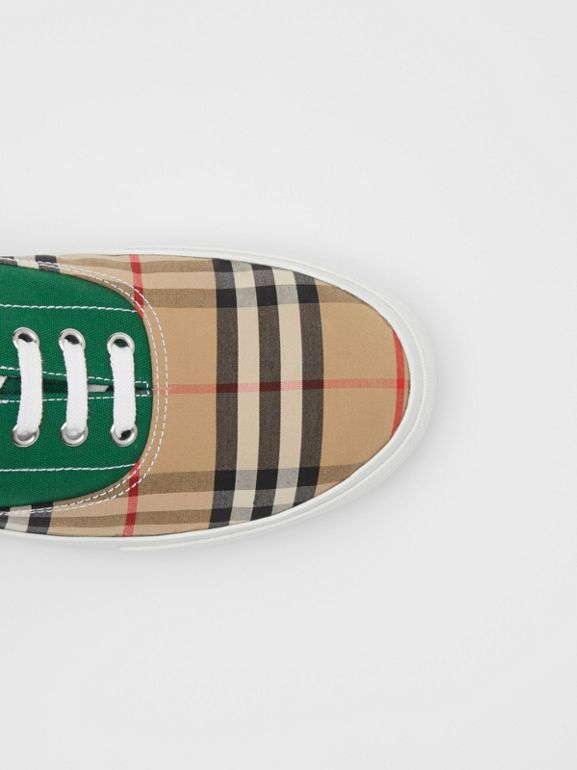 Vintage Check, Cotton Canvas and Suede Sneakers in Archive Beige/green - Men | Burberry - cell image 1