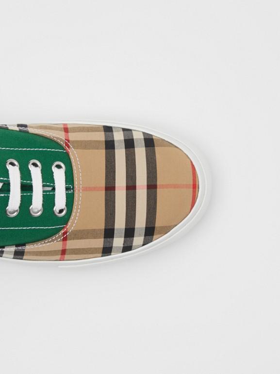 Sneakers en tissu Vintage check, toile de coton et cuir velours (Beige D'archive/vert) - Homme | Burberry - cell image 1