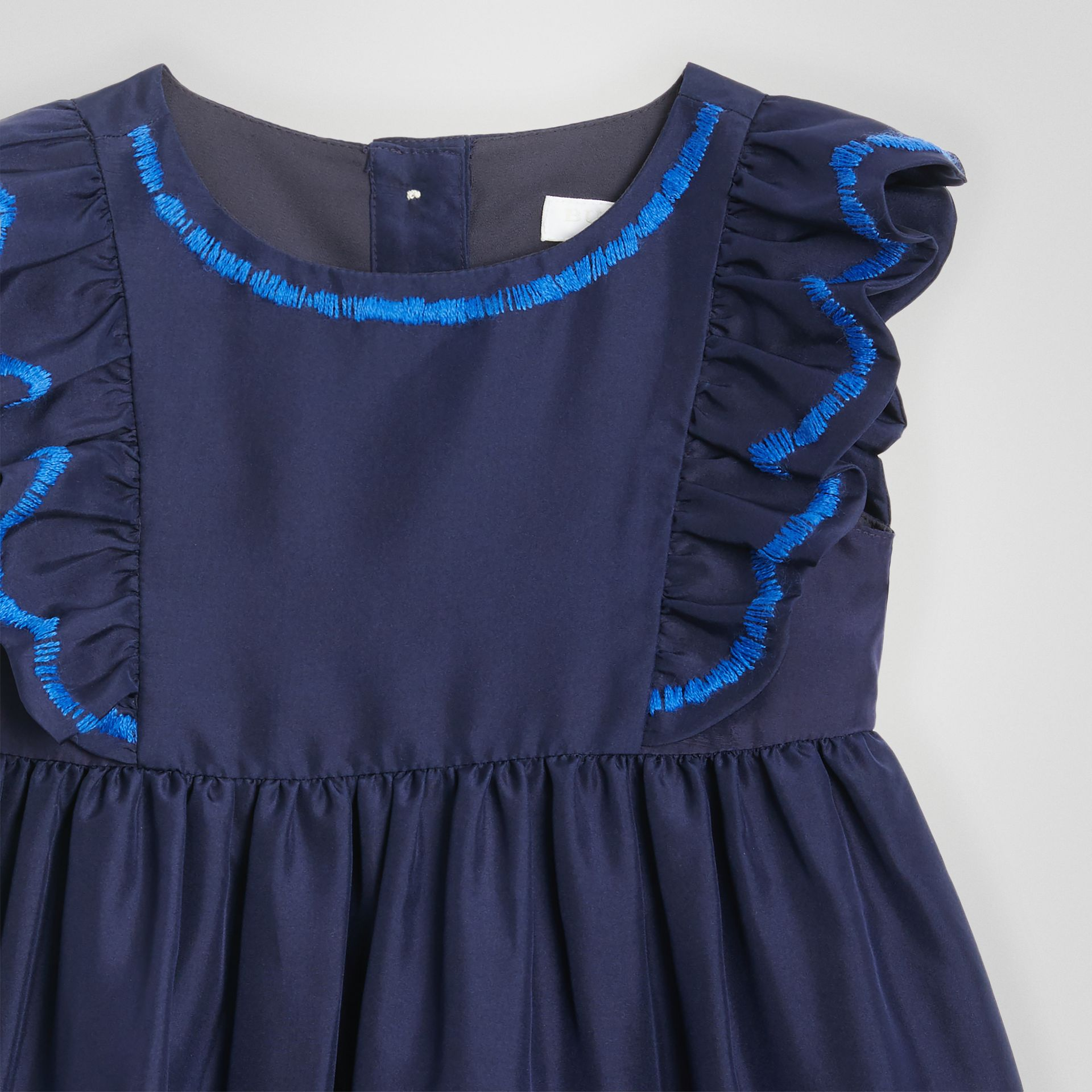 Ruffle Detail Embroidered Silk Dress with Bloomers in Navy - Children | Burberry - gallery image 4