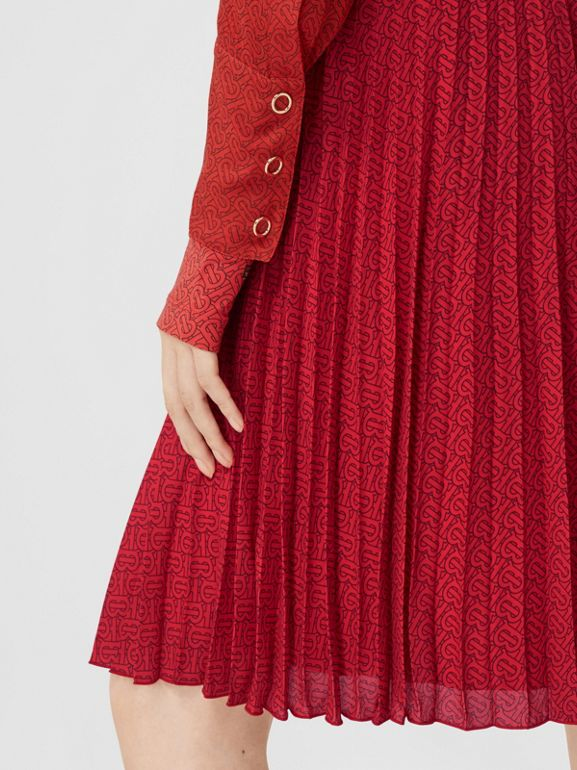 Monogram Print Pleated Skirt in Bright Red - Women | Burberry - cell image 1