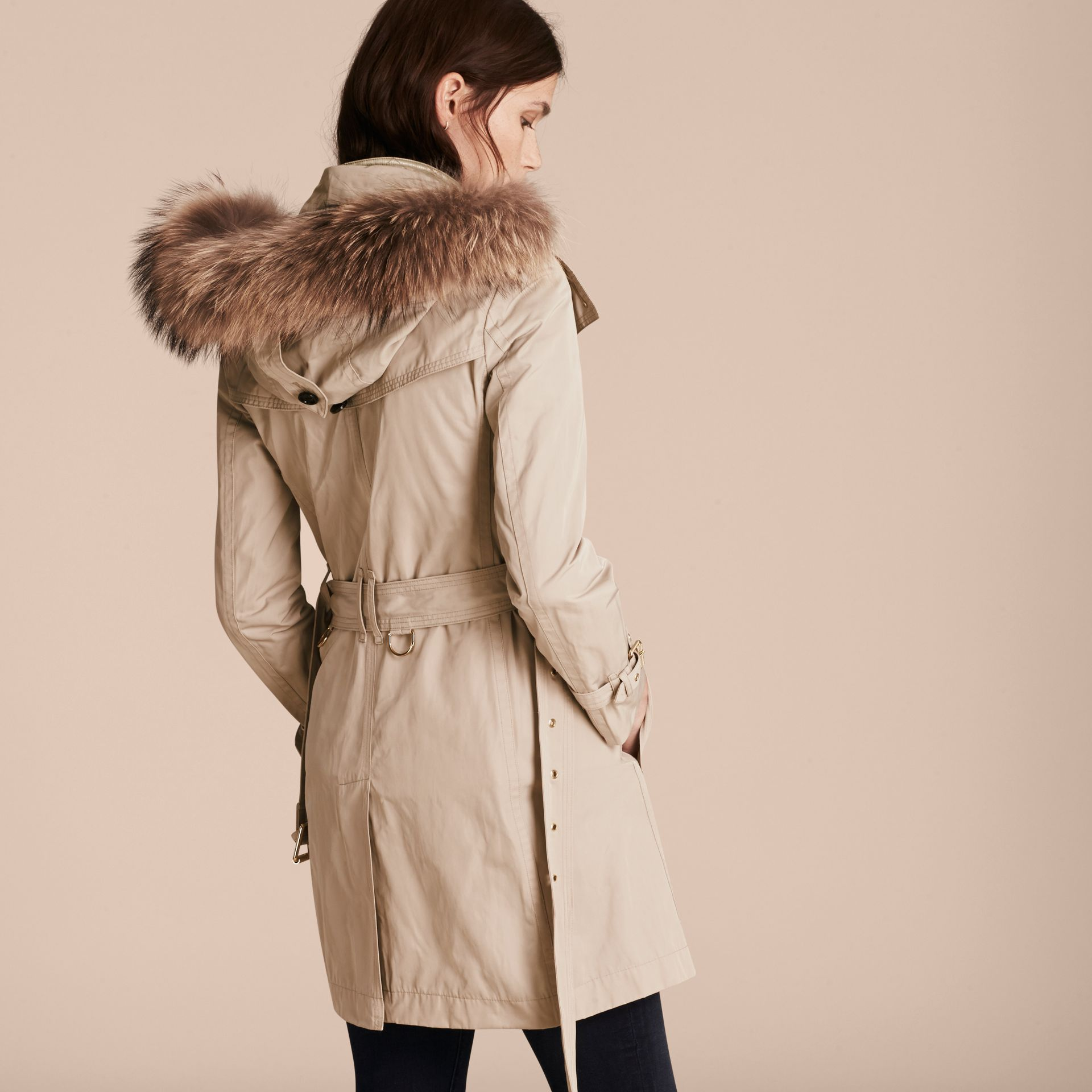 Stone Raccoon Fur Trim Hood Trench Coat with Gilet - gallery image 3