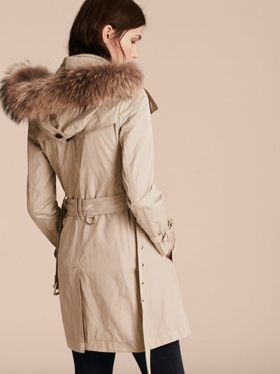 Stone Raccoon Fur Trim Hood Trench Coat with Gilet - cell image 2