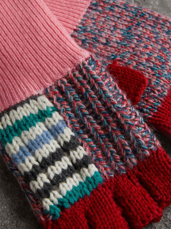 Wool Cashmere Patchwork Fingerless Gloves in Natural White/pink | Burberry United Kingdom - cell image 1