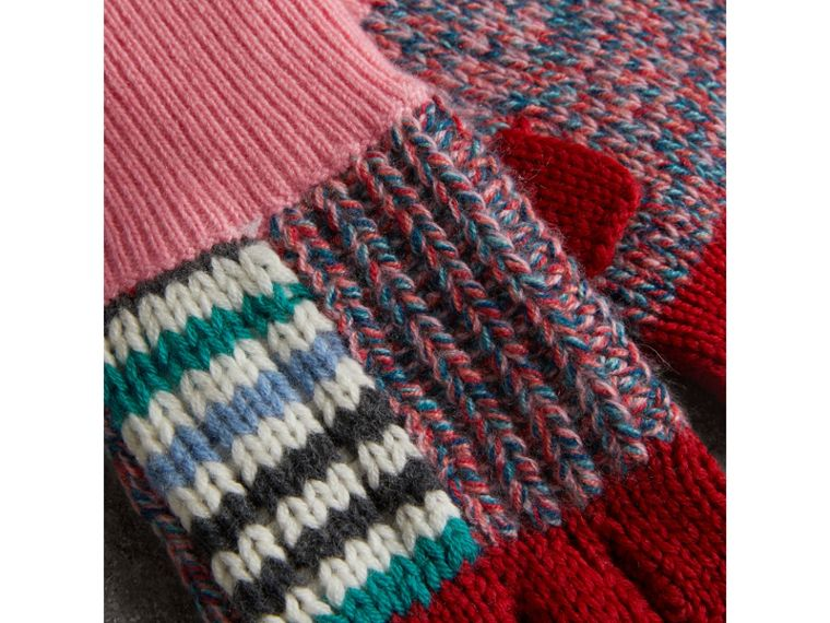 Wool Cashmere Patchwork Fingerless Gloves in Natural White/pink | Burberry - cell image 1