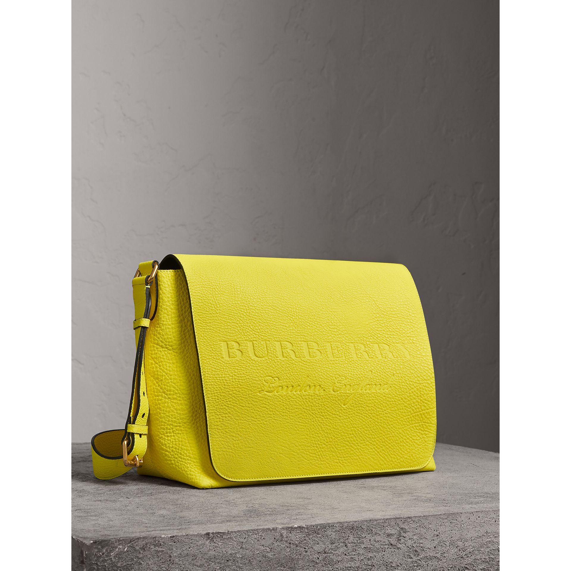 Large Embossed Leather Messenger Bag in Neon Yellow | Burberry - gallery image 8