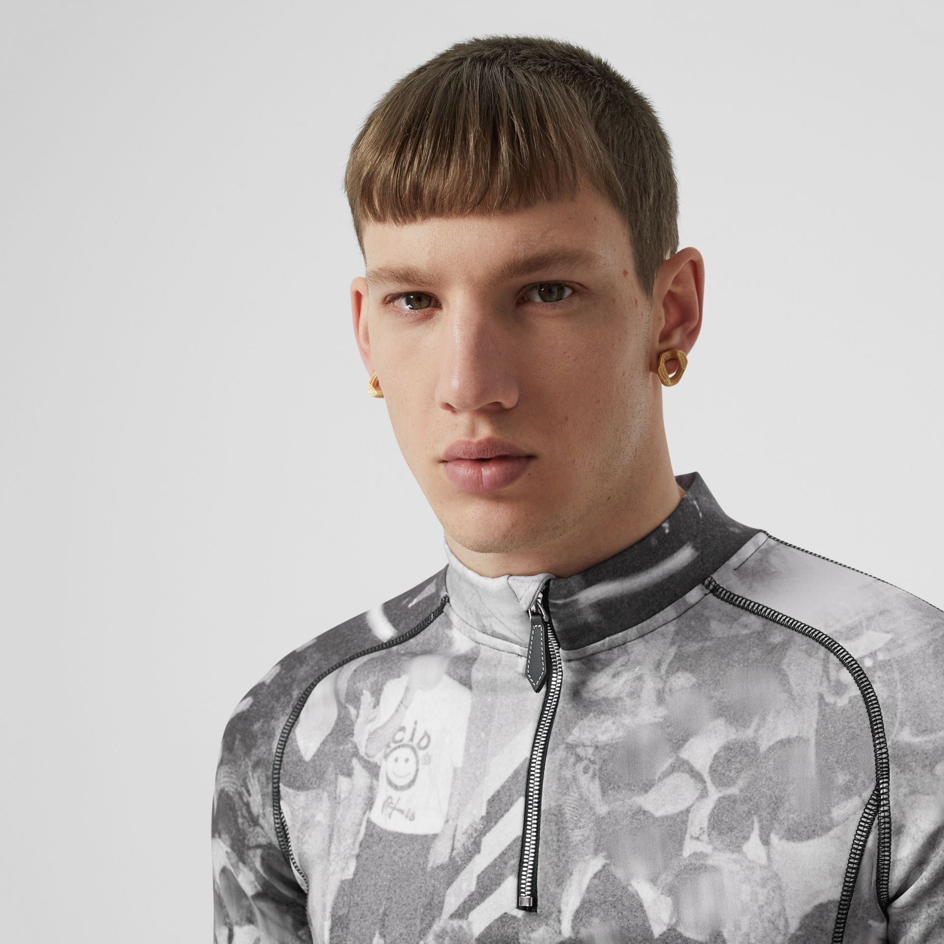 Long-sleeve Rave Print Stretch Jersey Top in Monochrome - Men | Burberry - gallery image 1