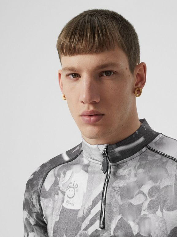 Long-sleeve Rave Print Stretch Jersey Top in Monochrome - Men | Burberry - cell image 1