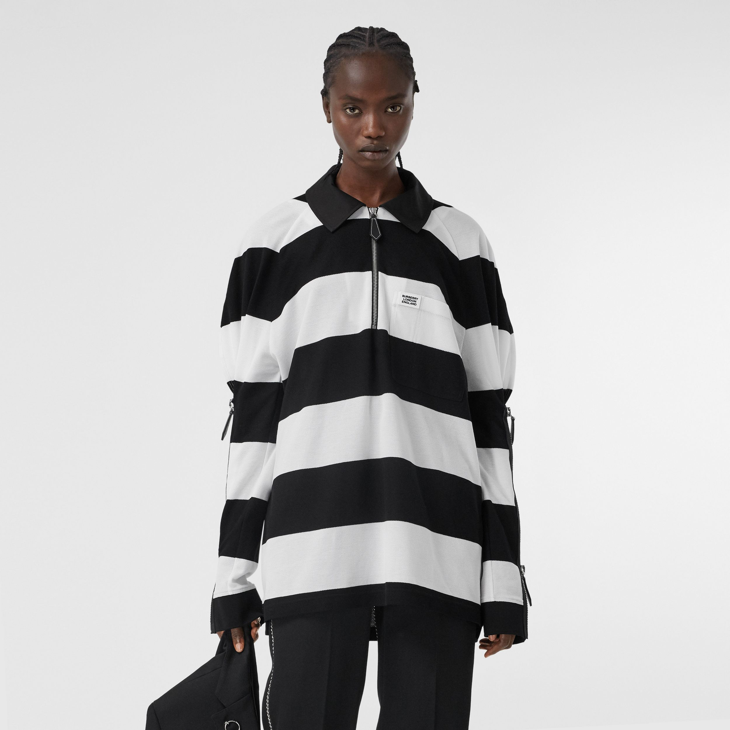 Zip Detail Striped Cotton Piqué Oversized Rugby Shirt in Black/white - Women | Burberry - 1