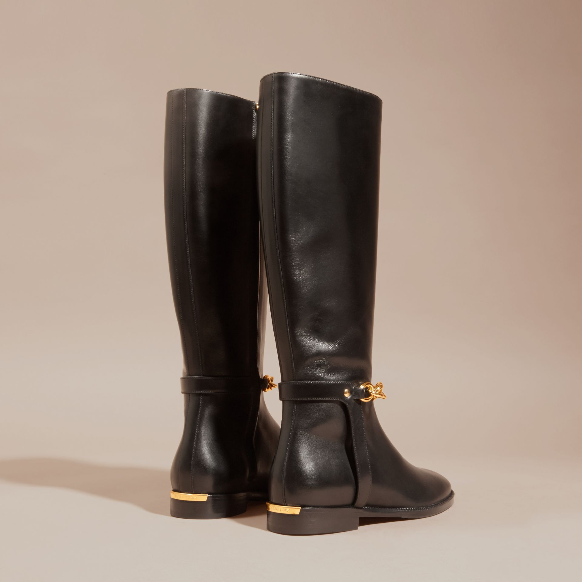 Black Chain Detail Leather Riding Boots - gallery image 4