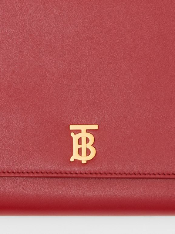 Monogram Motif Leather Bag with Detachable Strap in Crimson - Women | Burberry - cell image 1