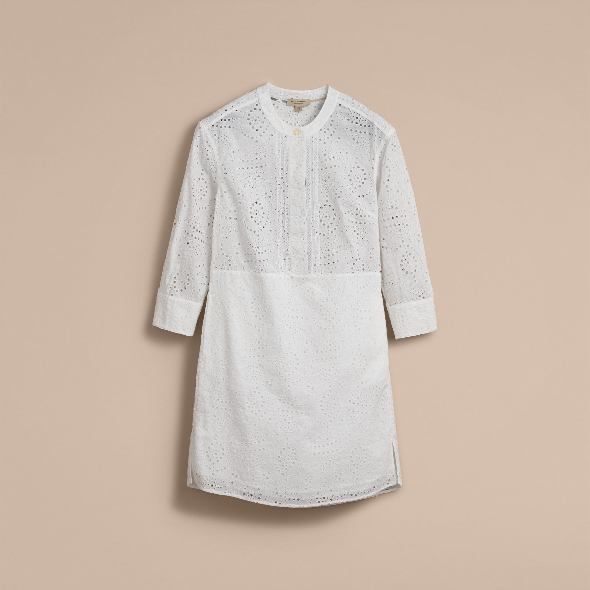 Collarless Broderie Anglaise Shirt Dress - gallery image 4