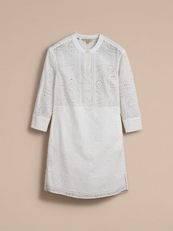 Collarless Broderie Anglaise Shirt Dress - cell image 3