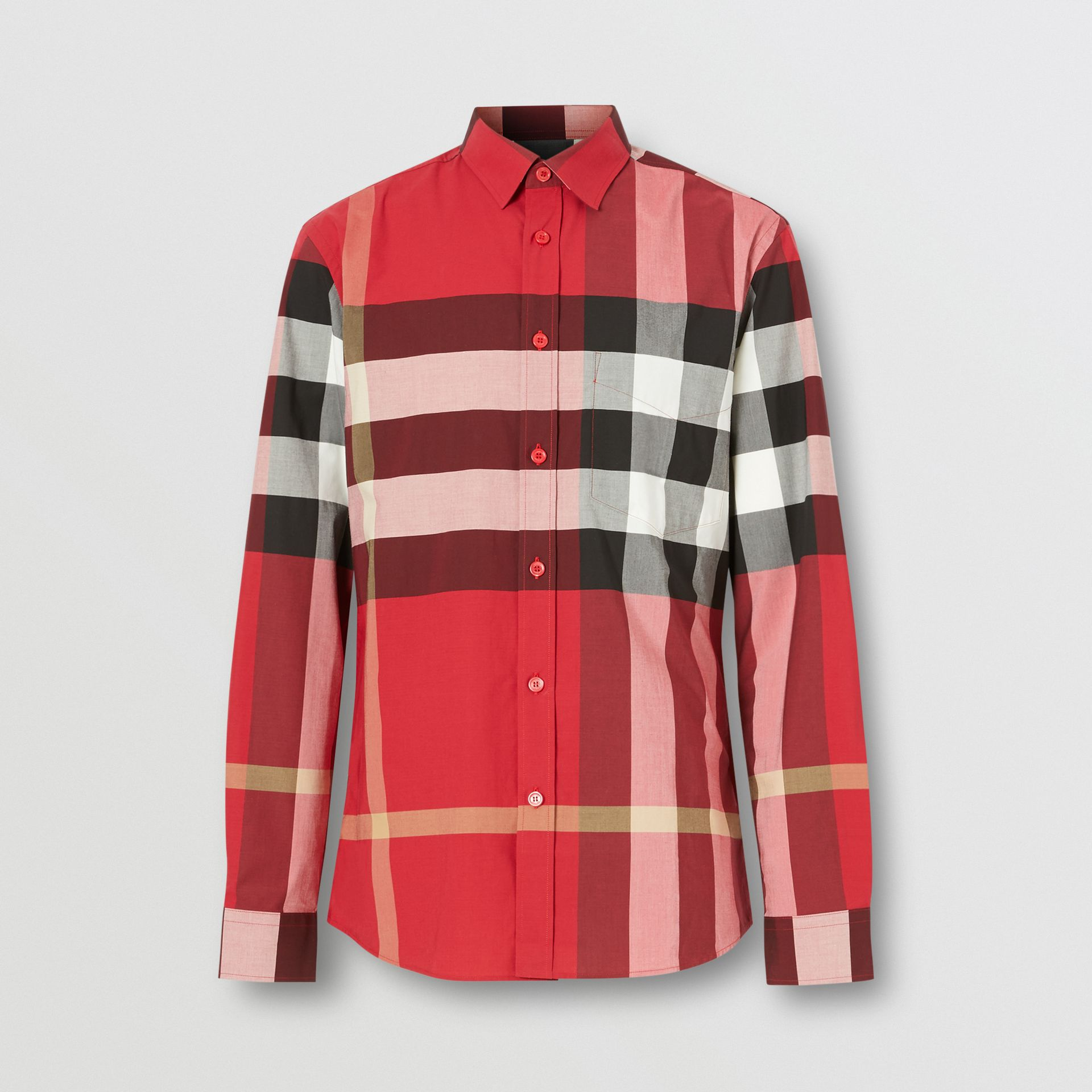 Check Stretch Cotton Poplin Shirt in Parade Red - Men | Burberry United States - gallery image 3