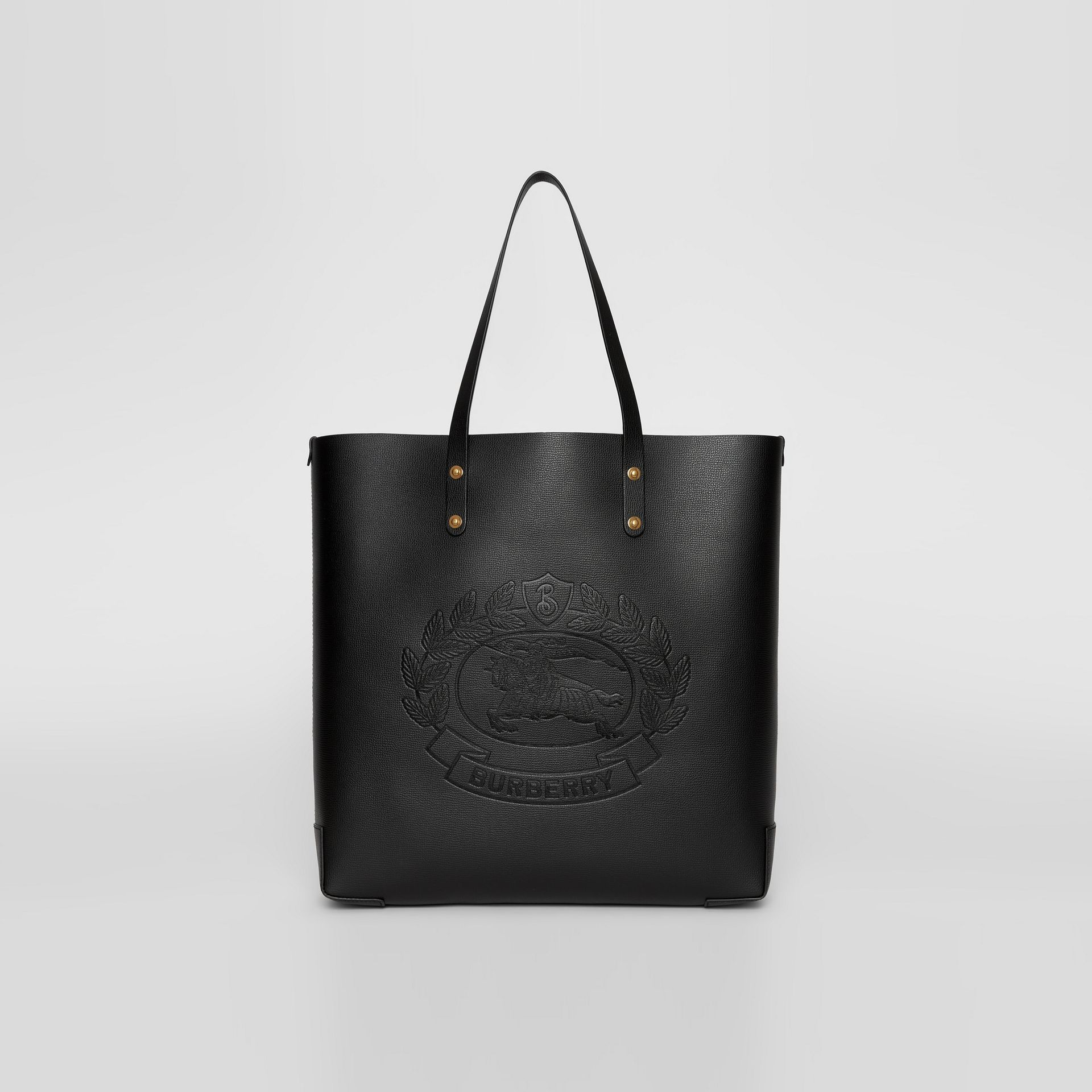 Large Embossed Crest Leather Tote in Black - Women | Burberry United Kingdom - gallery image 0