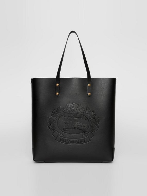 Large Embossed Crest Leather Tote in Black
