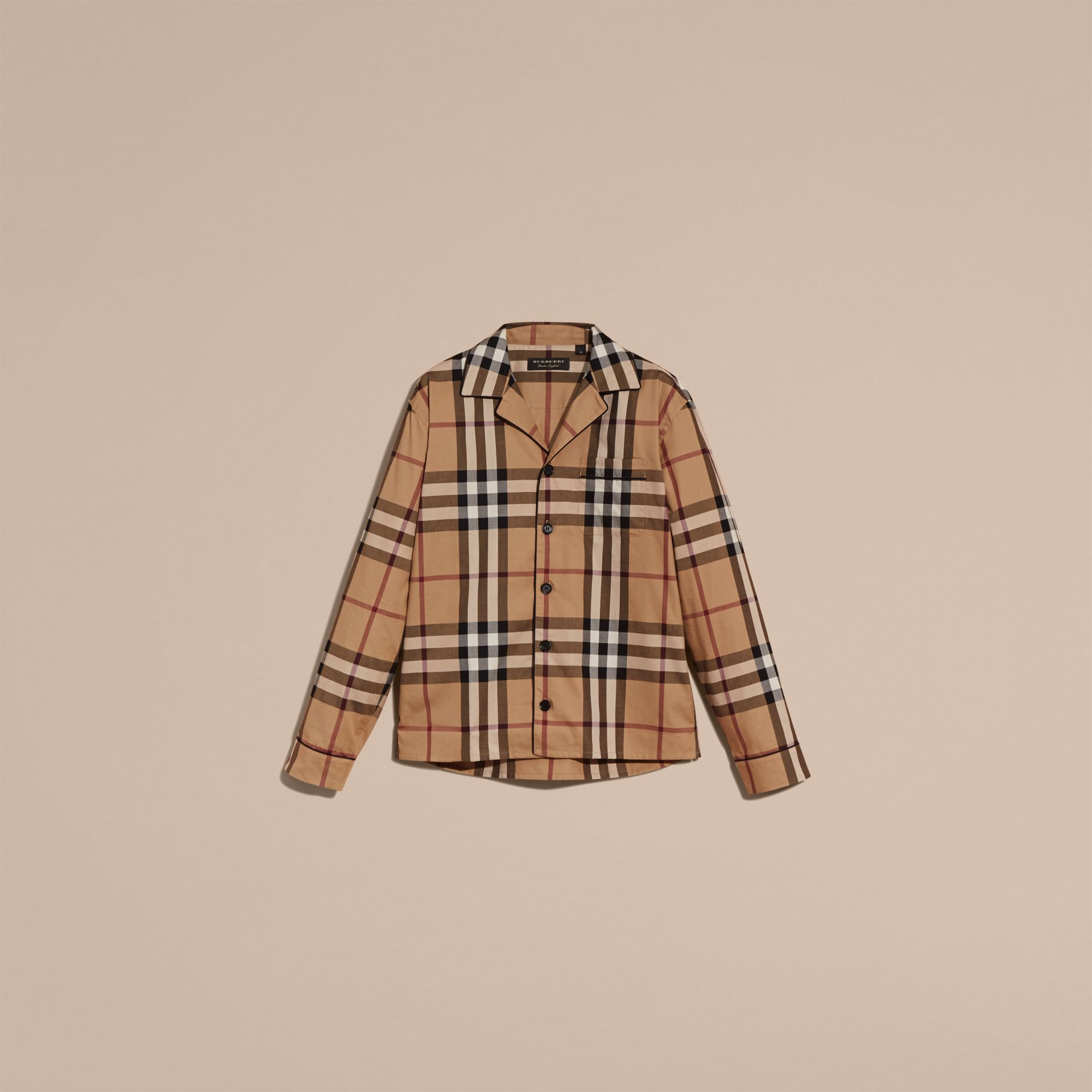 Camel Check Cotton Pyjama-style Shirt Camel - gallery image 5