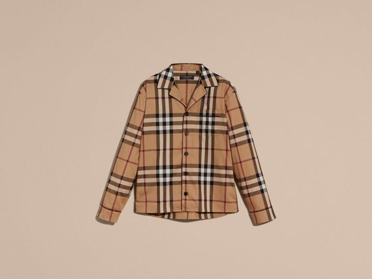 Check Cotton Pyjama-style Shirt in Camel - cell image 4