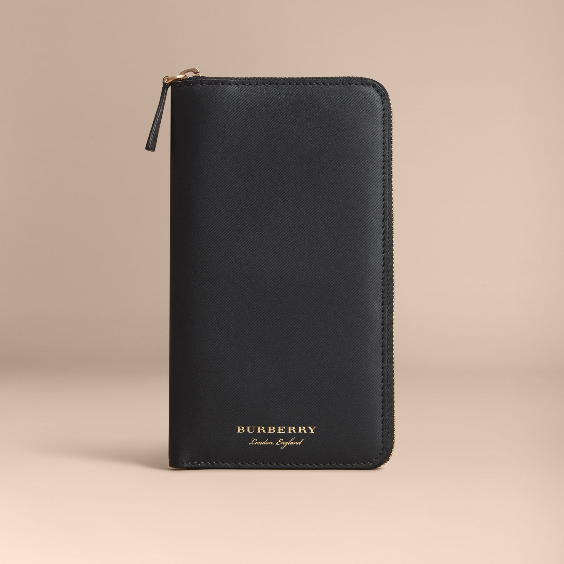 Trench Leather Ziparound Wallet in Black - Men | Burberry - gallery image 6