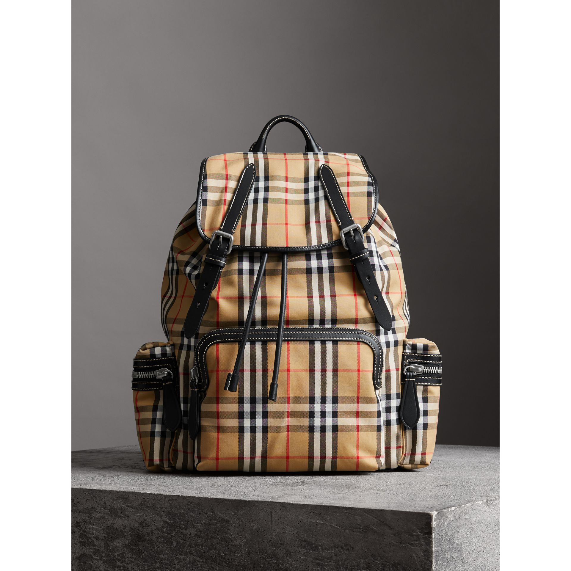 The Large Rucksack in Vintage Check and Leather in Antique Yellow - Men | Burberry - gallery image 6
