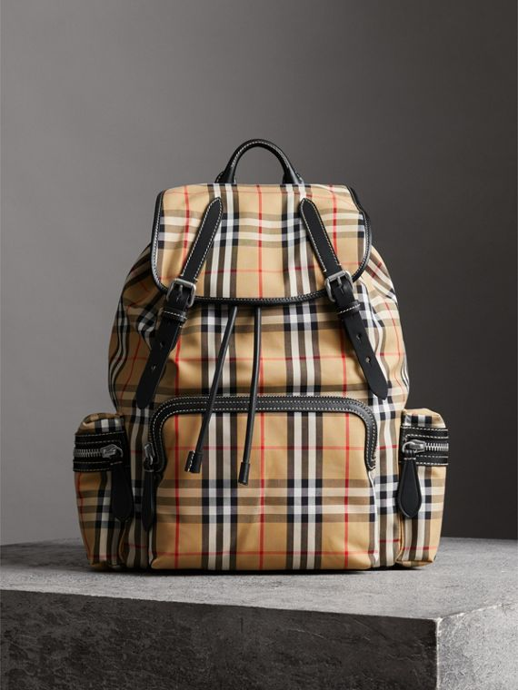 The Large Rucksack in Vintage Check and Leather in Antique Yellow
