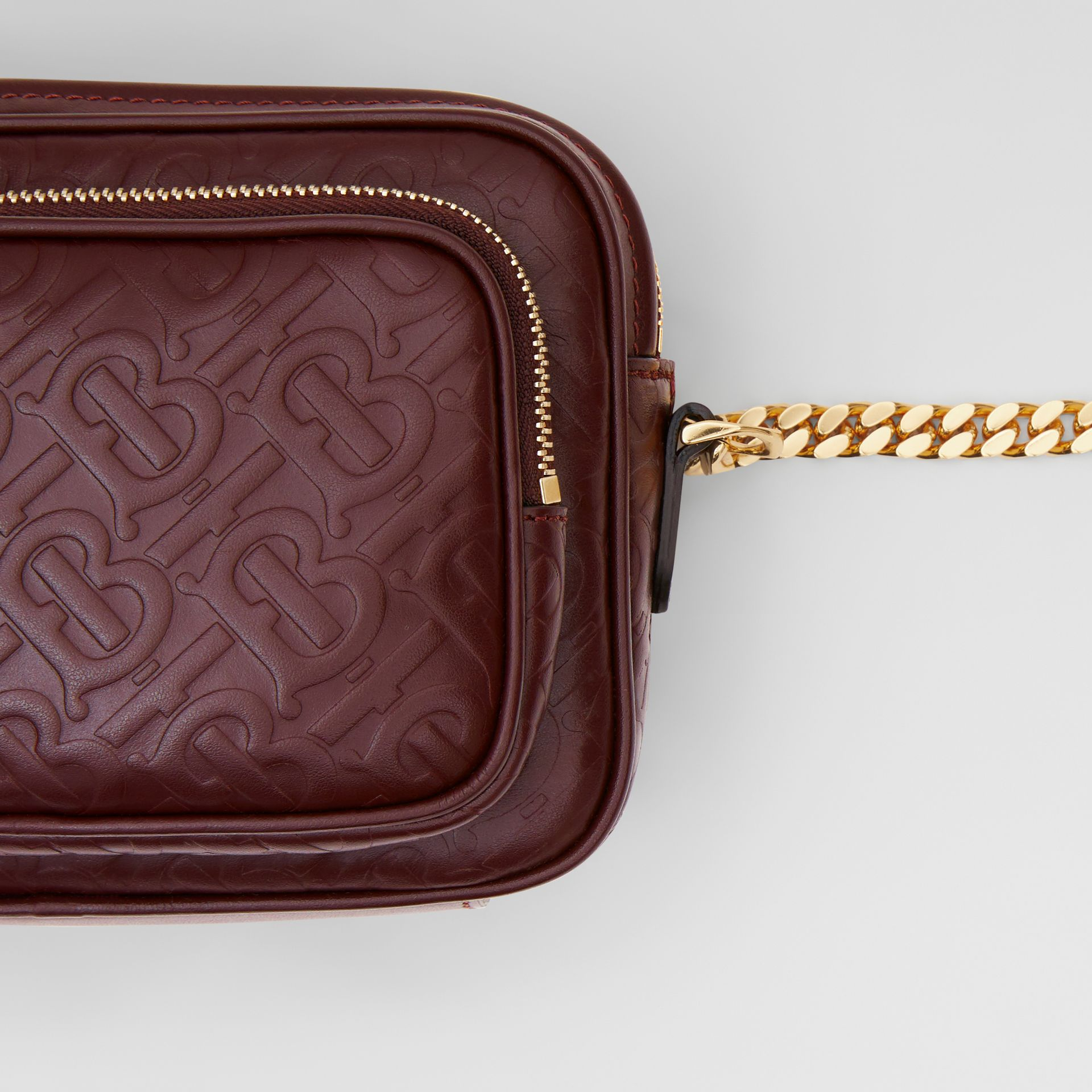 Monogram Leather Camera Bag in Dark Burgundy - Women | Burberry United States - gallery image 1