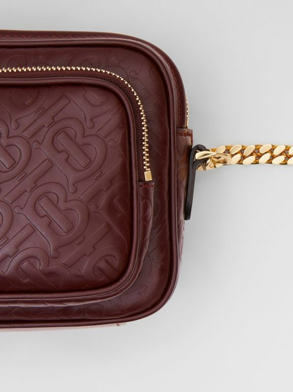 Monogram Leather Camera Bag in Dark Burgundy - Women | Burberry United States - cell image 1