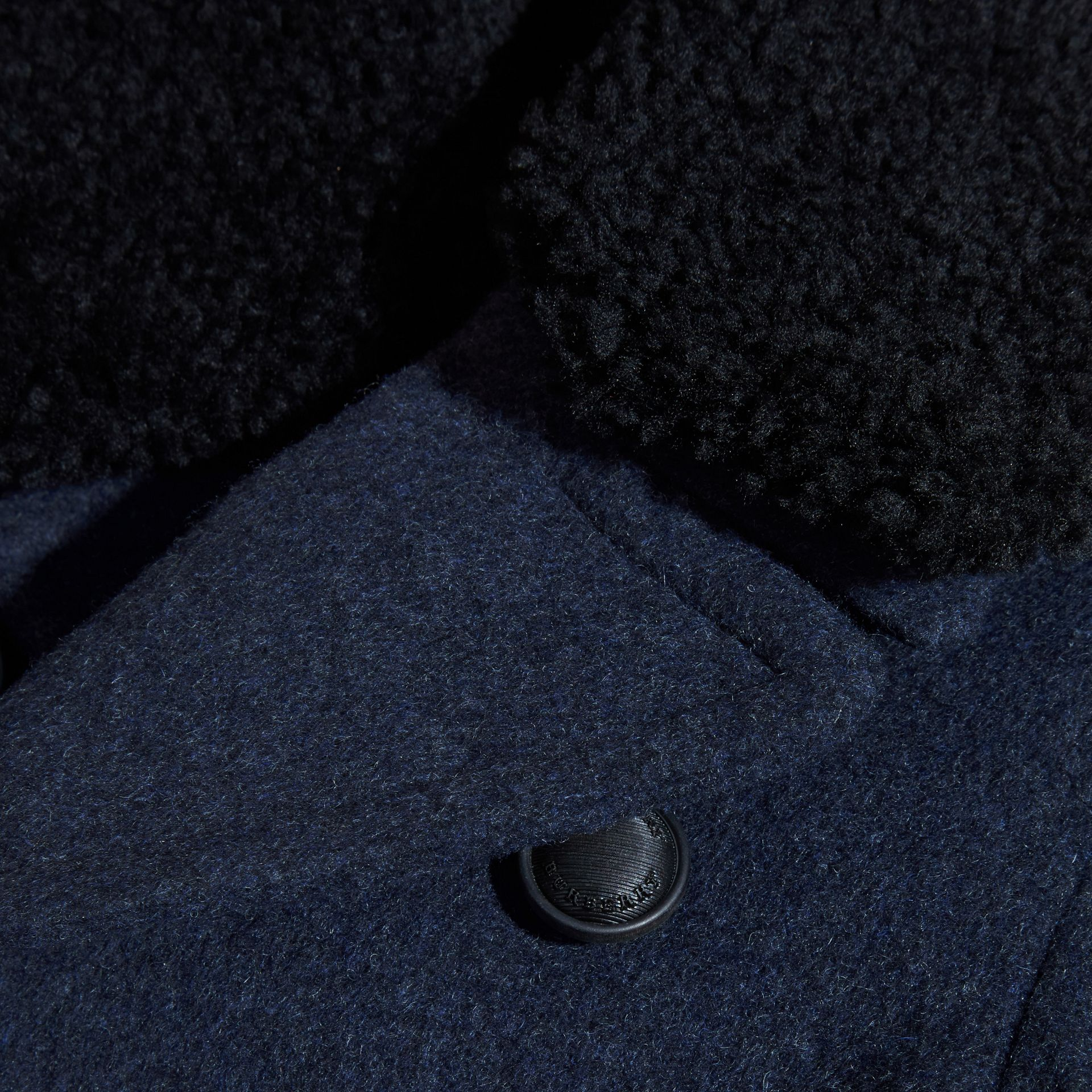 Airforce blue Technical Wool Coat with Detachable Shearling Collar - gallery image 3