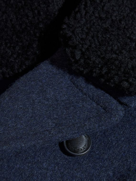 Detachable Shearling Collar Technical Wool Pea Coat - cell image 2