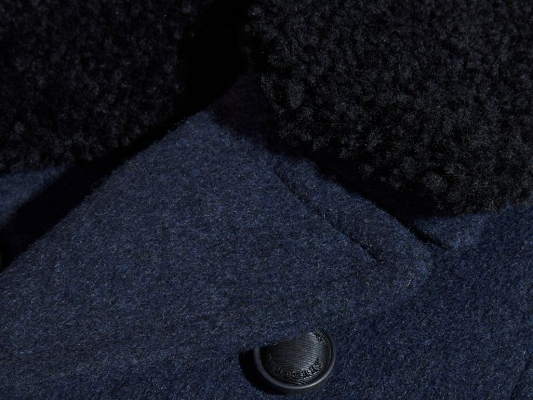 Airforce blue Technical Wool Coat with Detachable Shearling Collar - cell image 1