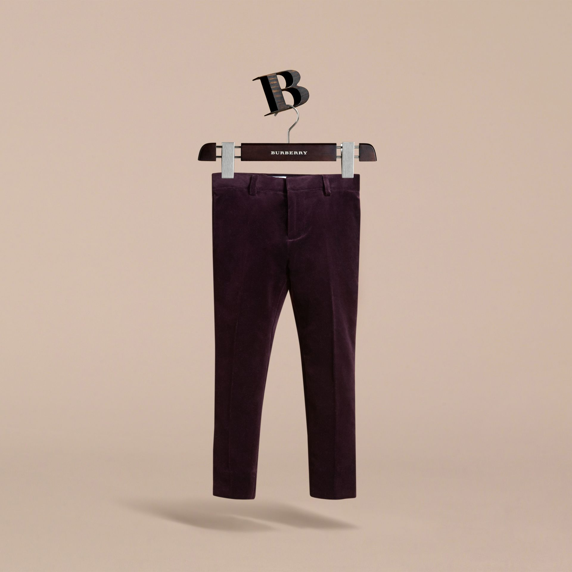 Tailored Velvet Tuxedo Trousers in Black Currant - Boy | Burberry - gallery image 0