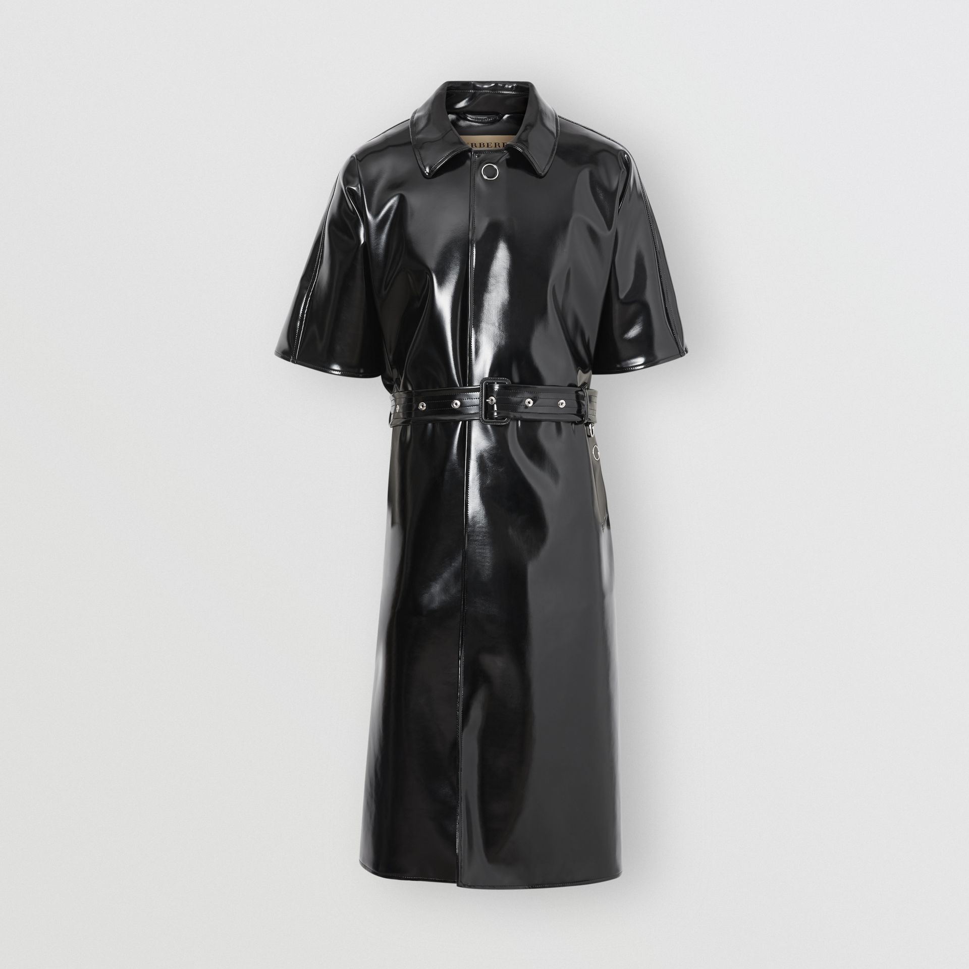 Vinyl Belted Cape in Black | Burberry Australia - gallery image 6