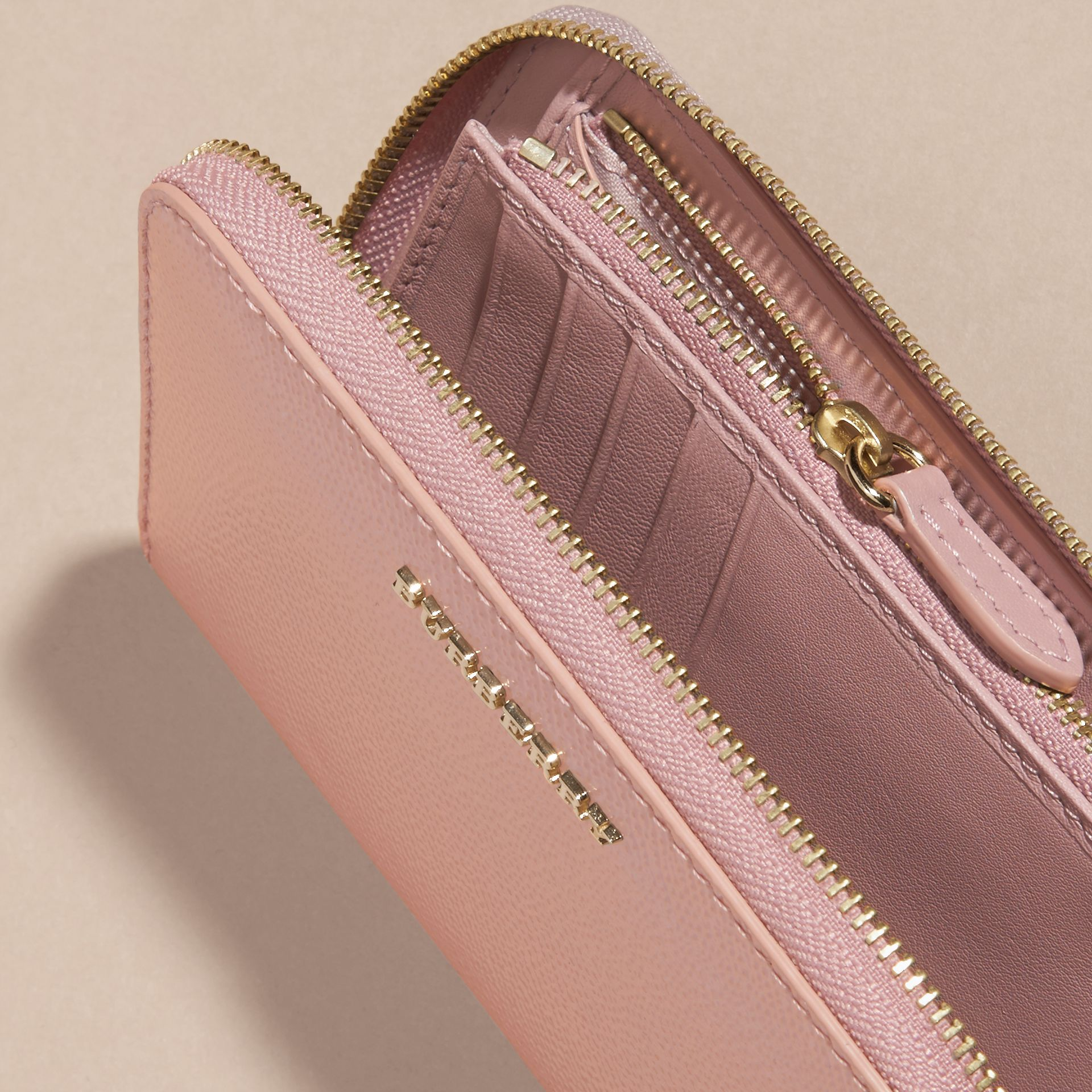 Patent London Leather Ziparound Wallet in Ash Rose - gallery image 5