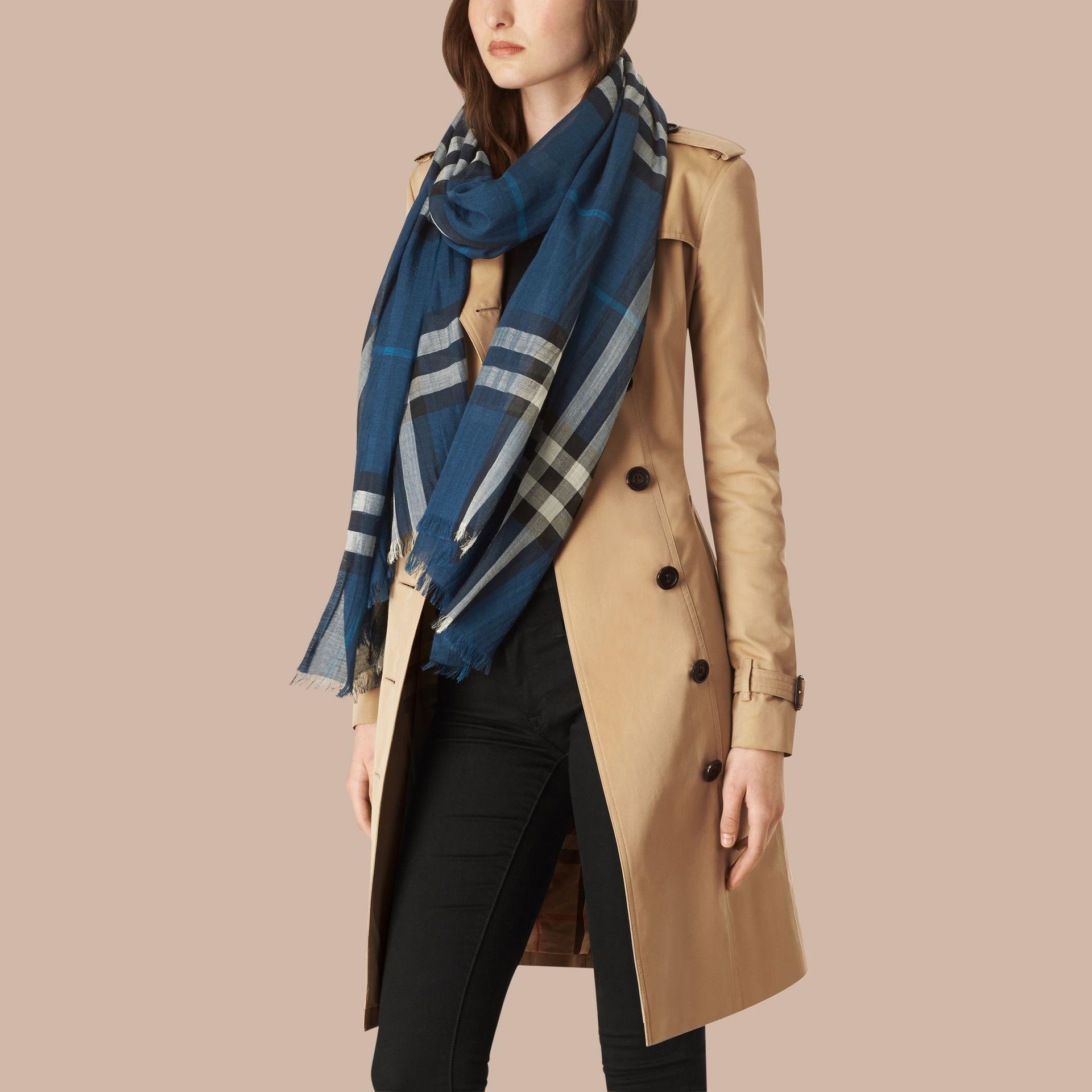 Marine blue Lightweight Check Wool and Silk Scarf Marine Blue - gallery image 3