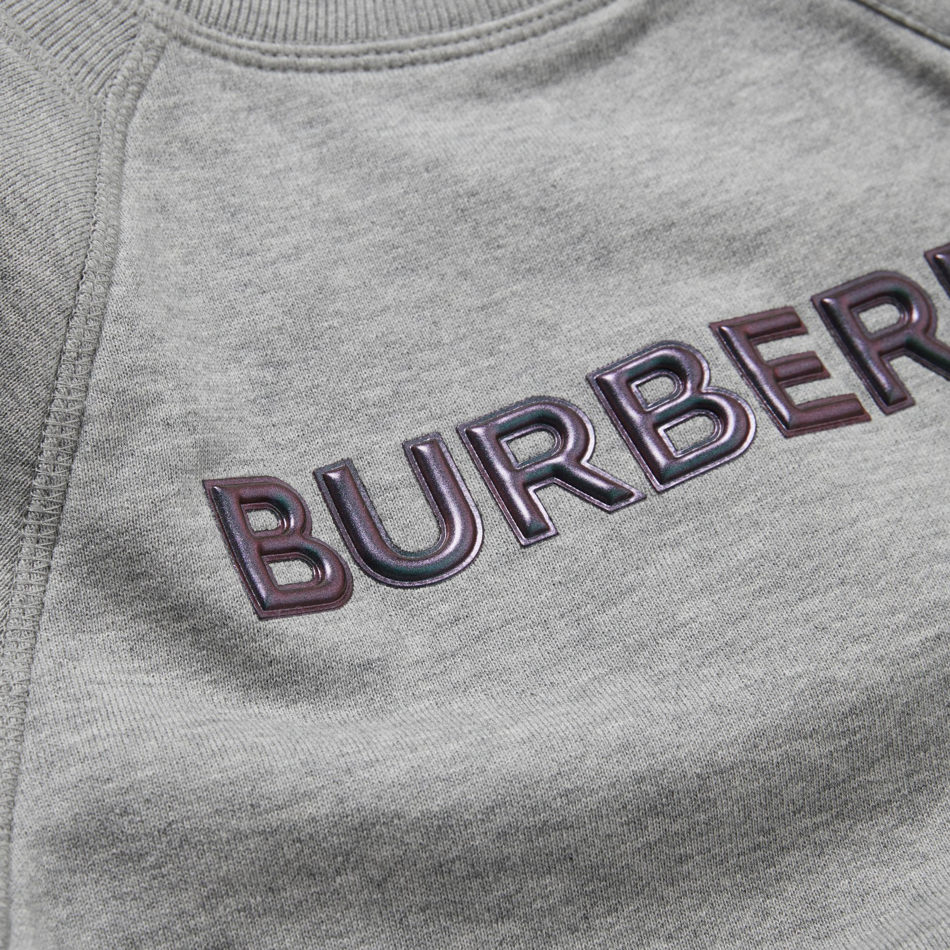 Logo Detail Cotton Sweatshirt in Grey Melange - Children | Burberry - gallery image 1
