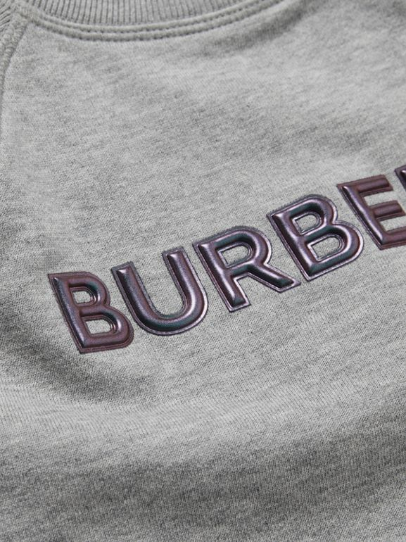 Logo Detail Cotton Sweatshirt in Grey Melange - Children | Burberry - cell image 1