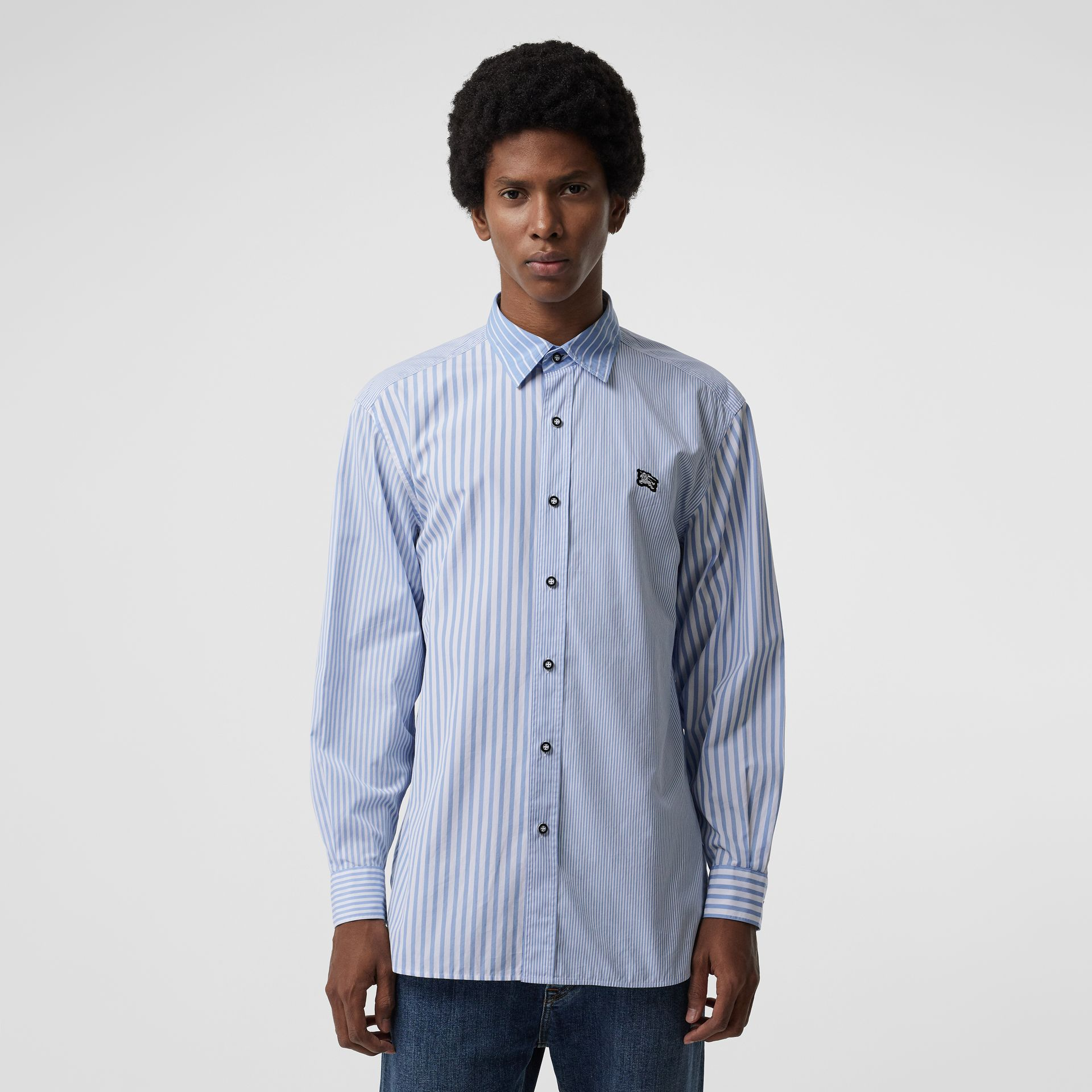 Contrast Stripe Cotton Poplin Shirt in Chalk Blue - Men | Burberry - gallery image 0