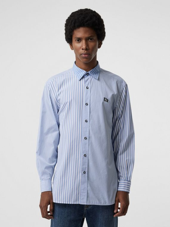 Contrast Stripe Cotton Poplin Shirt in Chalk Blue