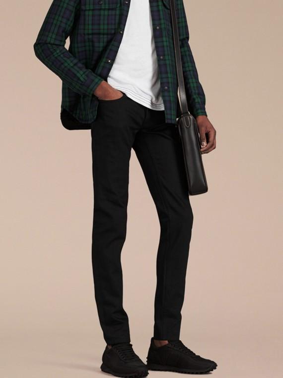 Preto Calças de tecido jeans japonês com corte slim Preto - cell image 3