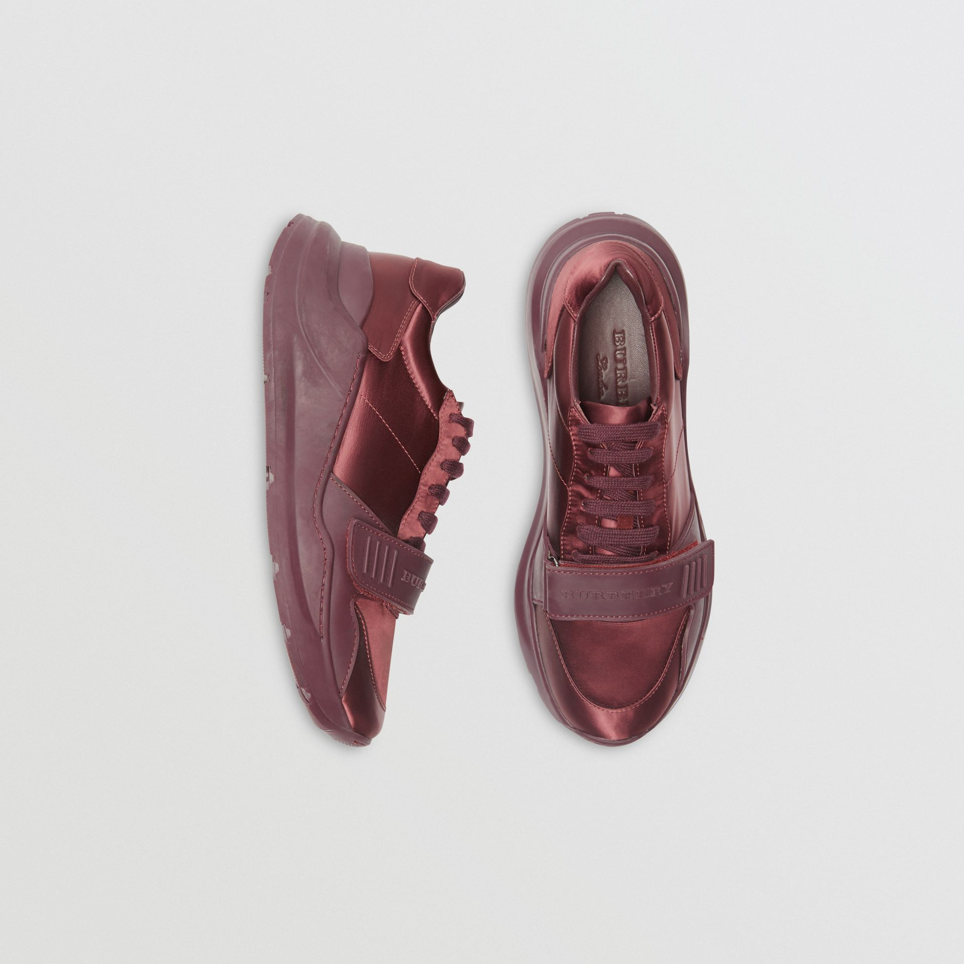 Satin Sneakers in Claret - Women | Burberry United Kingdom - gallery image 0
