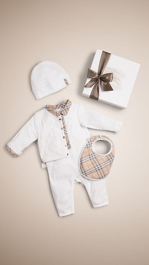 Burberry Baby Gift Sets : Cotton four piece baby gift set burberry
