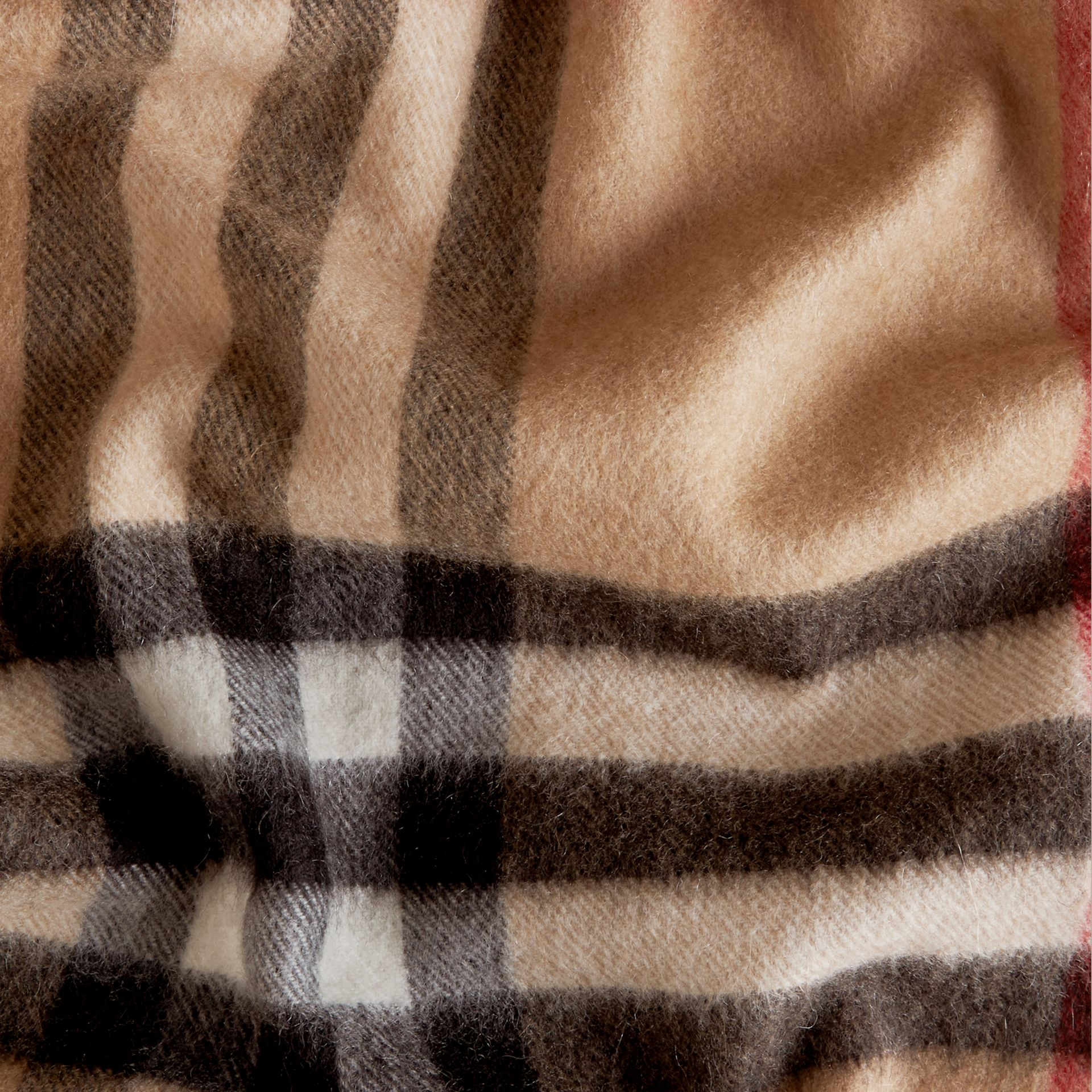 The Classic Cashmere Scarf in Check in Camel - gallery image 5