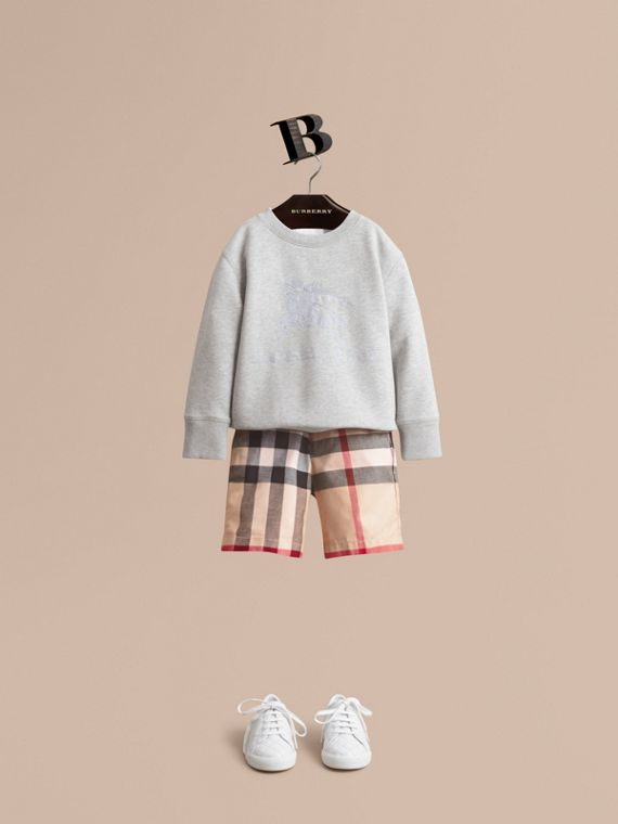 Check Cotton Chino Shorts in Stone - Boy | Burberry Hong Kong