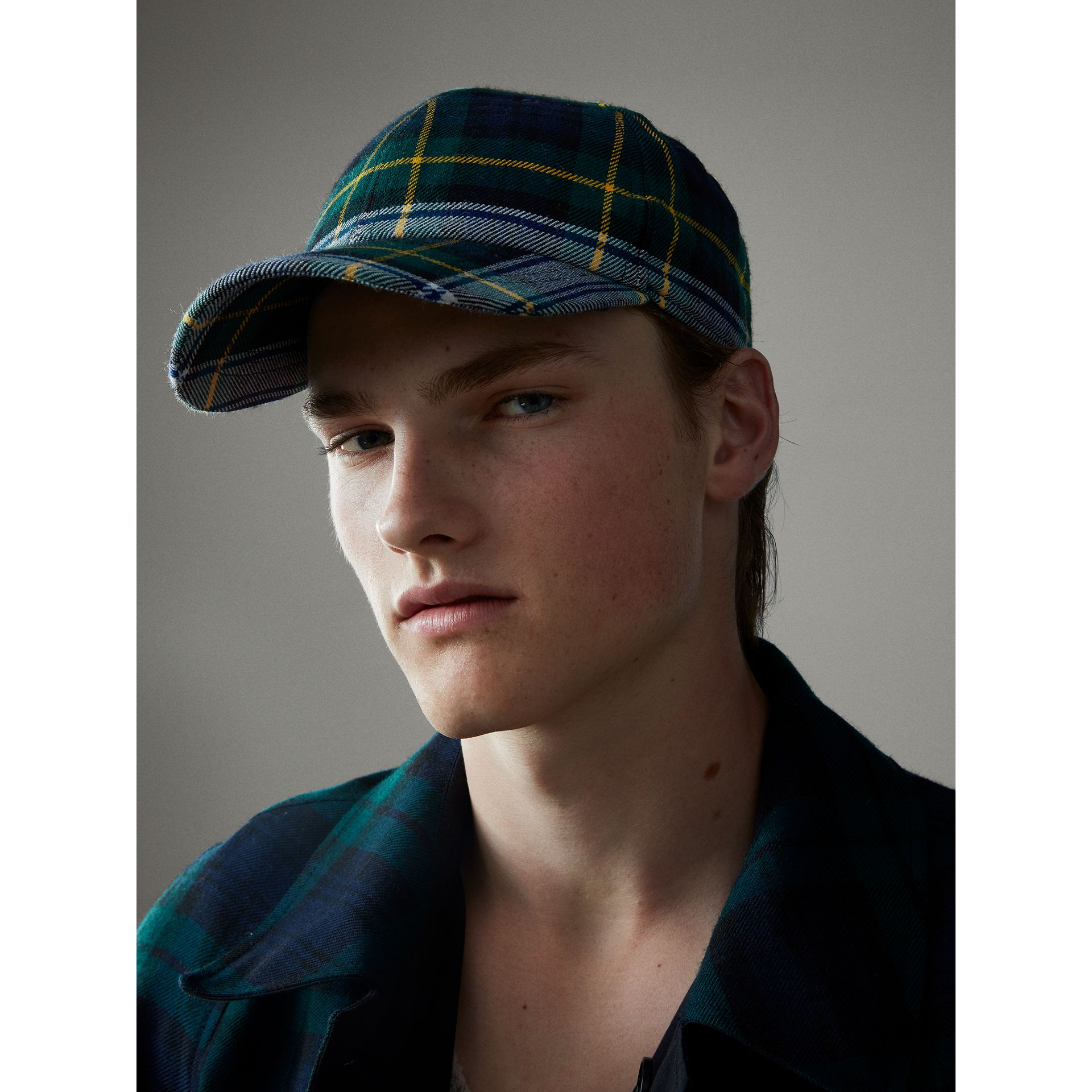 Tartan Baseball Cap in Ink Blue | Burberry - gallery image 4